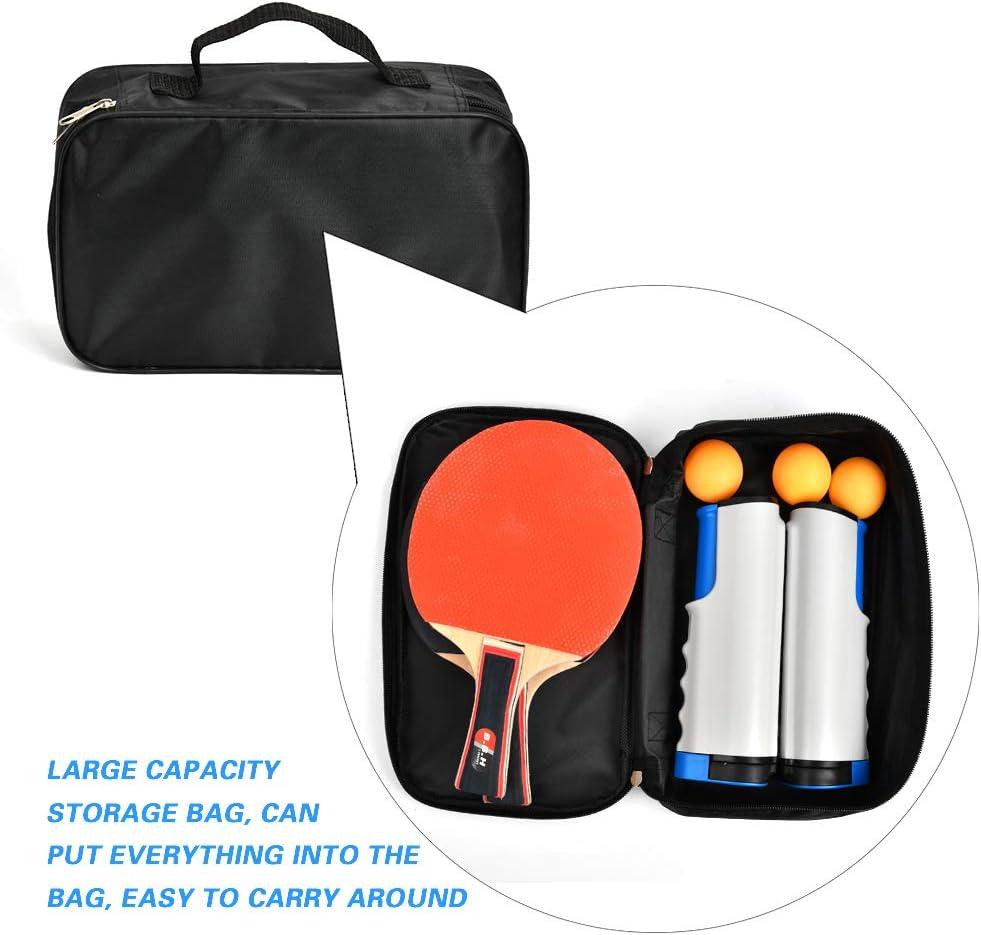 1 Bolsa de Almacenamiento DODUOS Juego de Tenis De Mesa Port/átil Raqueta de Tenis Ping Pong Paddle Profesional con 2 Raquetas 1 Red Retr/áctil 3 Pelotas de Tenis de Mesa