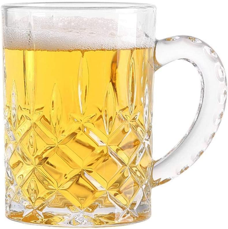 Jarras De Cerveza Vasos De Cerveza Vaso De Cerveza, Té, Agua Potable Para El Hogar Con Mango Engrosado, Resistente Al Calor, Transparente Grabado 2 * 420 Ml,Jarra De Cerveza Tallada 2 * 420 Ml