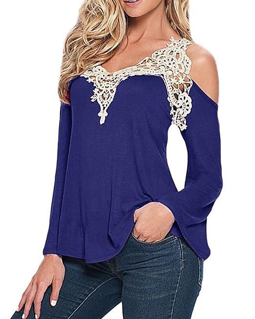 Qitun Camisa Sin Hombro Encaje Crochet Mujer Camiseta Manga Larga Blusa Tapas Azul S