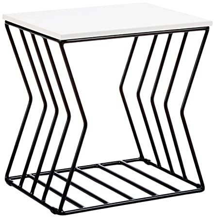 Now House by Jonathan Adler Concave Grid Accent Table Black White