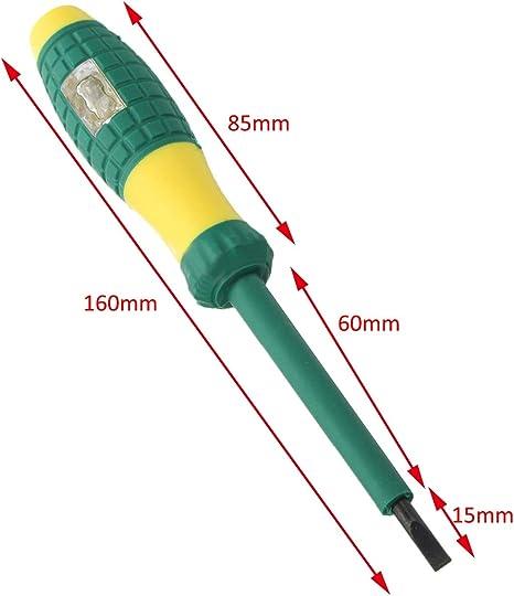 220V diametro 4mm amarillo verde Electrical Tester Pen destornillador ranurado destornillador sonda electrica Tester detector de voltaje