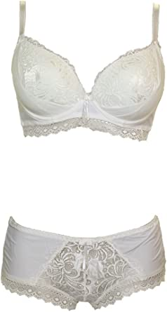 6464-2 Padded Push-Up Side Panel Detail Bra and Hipster Set Ivory C Cup