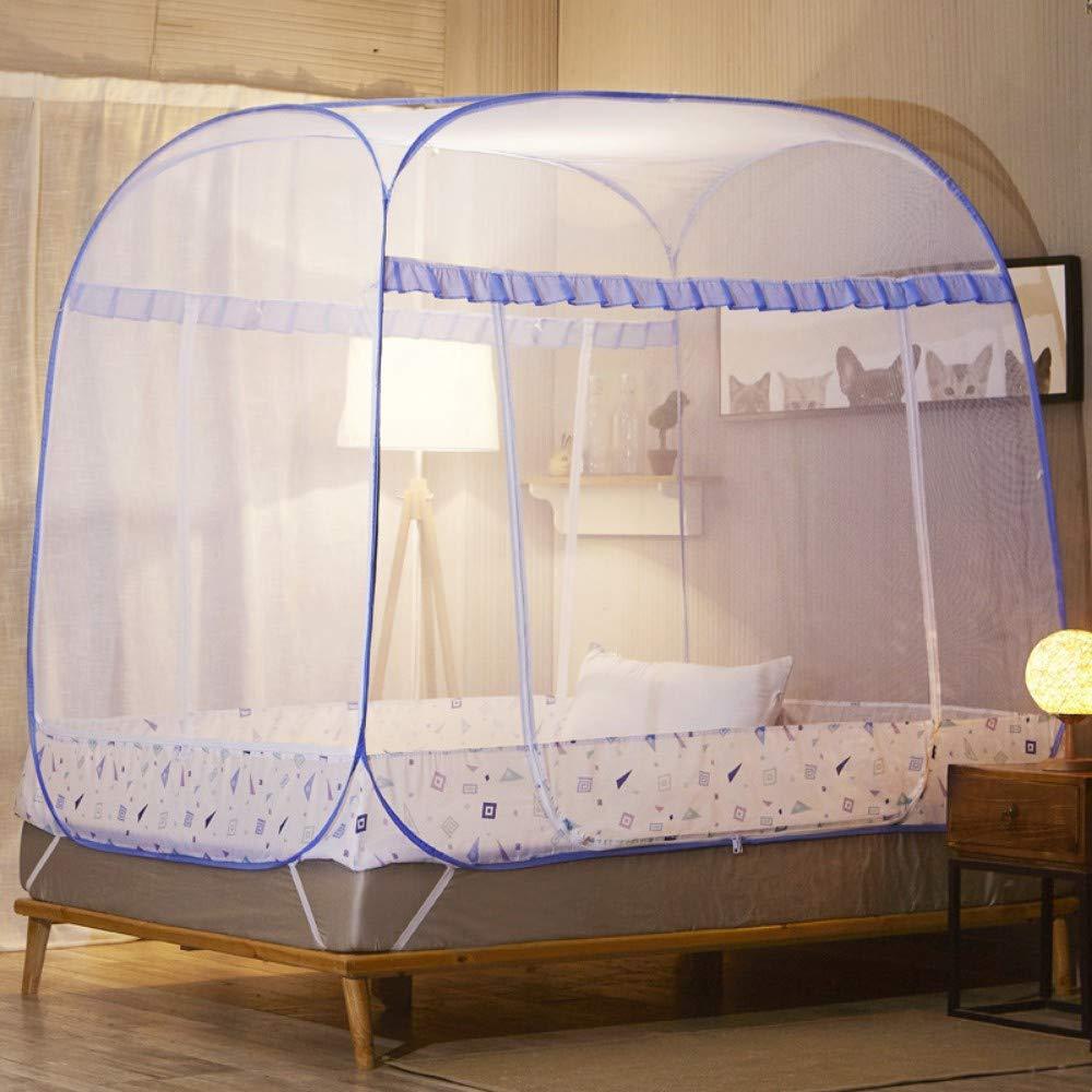 MINGXIO Mosquito net Mosquito net Full Bottom Square top Zipper net, Simple - Blue, 2 2.2m
