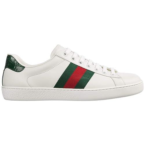 Gucci zapatos zapatillas de deporte hombres en piel nuevo mirò soft nastro blanco: Amazon.es: Zapatos y complementos