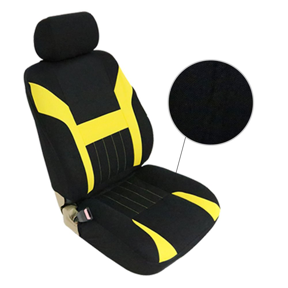 ECCPP Universal Car Seat Cover w/Headrest - 100% Breathable Polyester Stretchy Durable for Most Cars Trucks Vans(Black/Yellow) by ECCPP (Image #2)