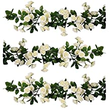 YILIYAJIA 3PCS Artificial Rose Garlands, Silk Fake Rose Flowers Green Leaves Vine for Home Hotel Office Wedding Party Garden Craft Art Decor (white)
