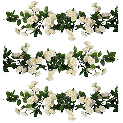YILIYAJIA 3PCS Artificial Rose Garlands Silk Fake Rose Flowers Green Leaves Vine for Home Hotel Office Wedding Party Garden Craft Art Decor (white) by YILIYAJIA
