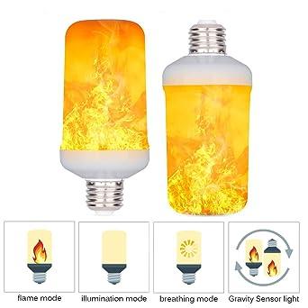 Bombilla LED con efecto de llama, 4 modos con efecto de plumón superior, E27