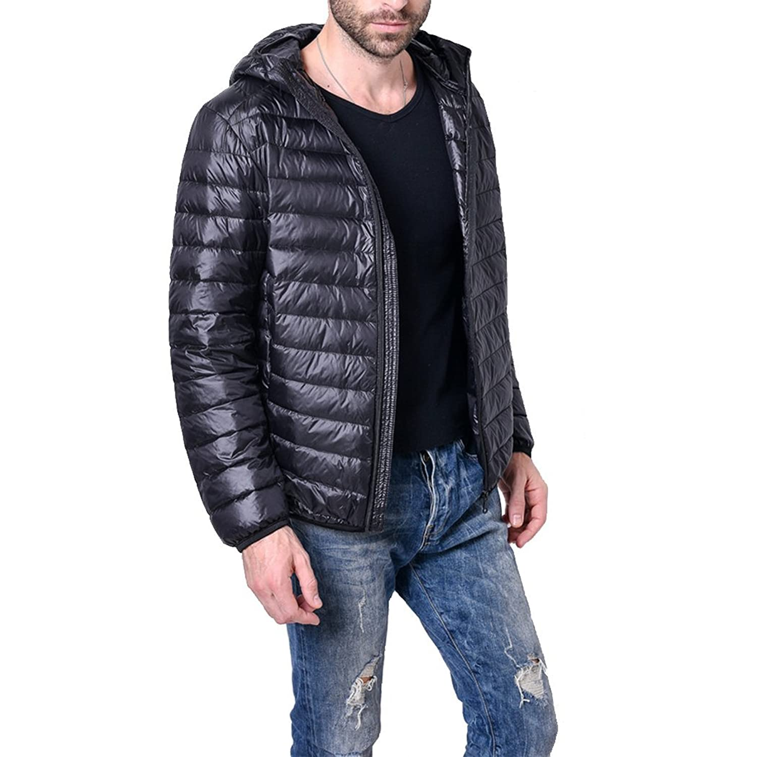 5cd1daf77926 Dehutin Men  Hooded Lightweight Packable Short Down Jacket Large ...