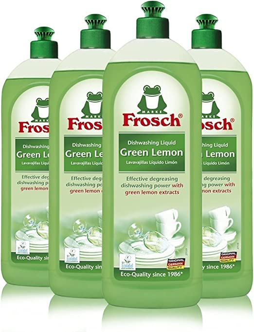 Frosch Natural Liquid Dish Soap, Vegan Hand Dishwashing Detergent, Green Lemon, 750ml (Pack of 4)