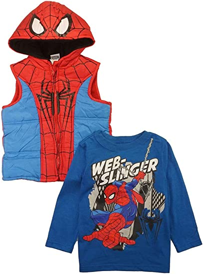 2Pcs Kids Boys Hooded Long Sleeve Spiderman Hoodie Sweatshirt Pants Set Outfits