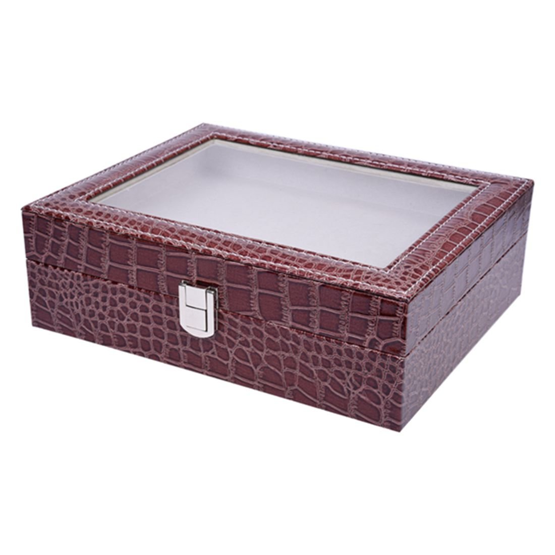 SODIAL(R) Faux Leather Watch Case Storage Display Box Organiser Jewelery Glass Top Size:10 Grid Crocodile Brown