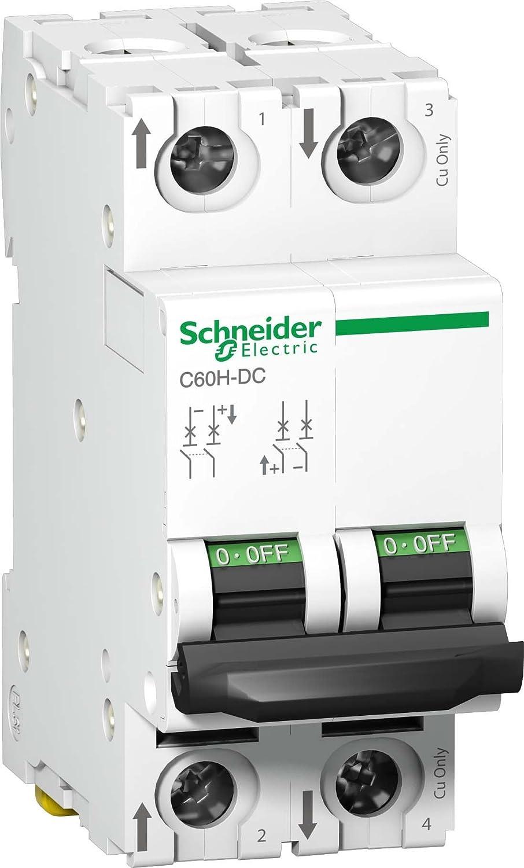 Schneider Electric A9N61522 C60H-DC Disjoncteur Courbe C 500VDC 2P 2 A Courant Blanc 81 mm Hauteur x 36 mm Largeur x 73 mm Profondeur