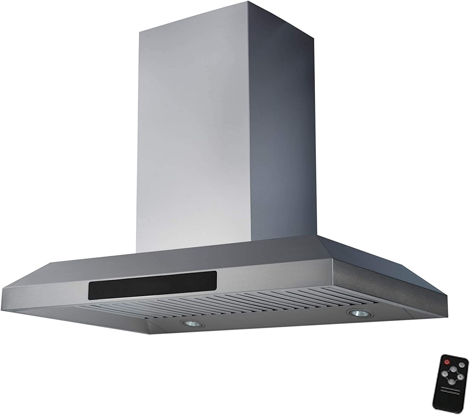 "Awoco 36"" Island Mount 43""H Stainless Steel Range Hood 4 Speeds, 6"" Round Top Vent 900CFM 4 LED Lights & Remote Control (RH-WQ-36)"