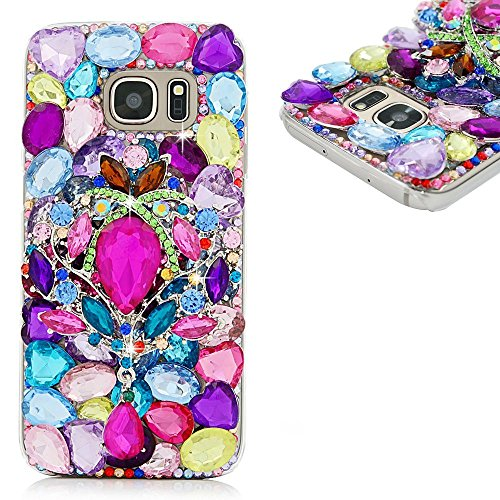 Spritech(TM) Bling Phone Cover for Samsung Galaxy S6 Edge,3D Handmade Colorful Crystal Design Clear Hard Cellphone (Lime Quartz Pendant)