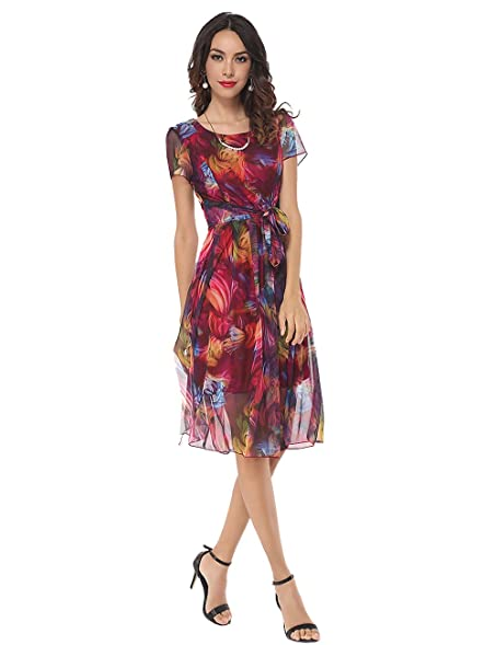 Fashionmia womens Vintage Short Sleeve Bowknot Printed Wedding Guest Swing Tea Skater Midi Dress Claret_red Large at Amazon Womens Clothing store: