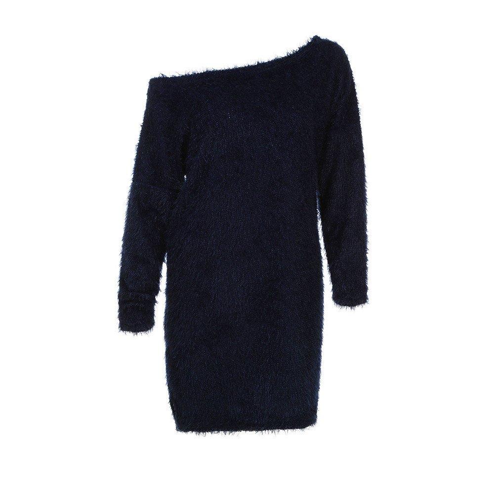 ABCone-Donna Pullover Felpa Abito con Spalle Scoperte in Pelliccia Sintetica T-Shirt Maniche Lunghe Elegante Autunno Camicette Camicie Casual Tops Blu