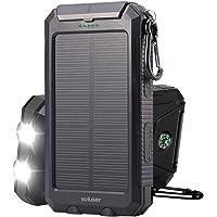 Soluser 10000mAh Portátil Batería Externa Solar Batería de Emergencia Cargador Solar IP67 Resistente al Agua 2 Puertos USB Solar Power Bank Cargador de Teléfono con 2LED Linterna, Mosquetón y Brújula