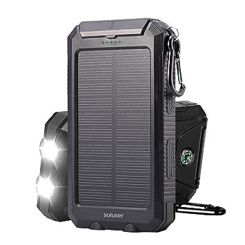 Soluser Batería Externa Solar 10000mAh, Batería Portátil Solar Power Bank con IP65 Resistente para Smartphone Tablet PC, Linterna SOS y Brújula para ...
