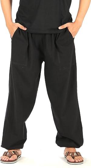Men/'s Linen Yoga Pants Oversize Beach Casual Fisherman Hippie Trousers Plus Size