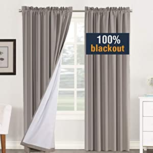 H.VERSAILTEX 100% Blackout Curtains for Bedroom Window Treatment Curtain Thermal Insulated Curtains for Living Room Rod Pocket Drapes White Backing, 2 Bonus Tie-Backs, 2 Panels, 52 x 84 Inch, Taupe