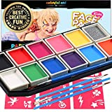 Face Paint Kit for Kids - Paints Over 100 Faces, Professional Award Winning Face Painting Set Safe for Sensitive Skin - 12 Large Washable Non-Toxic Face Paints, 30 Stencils, 3 Brushes, FDA Approved