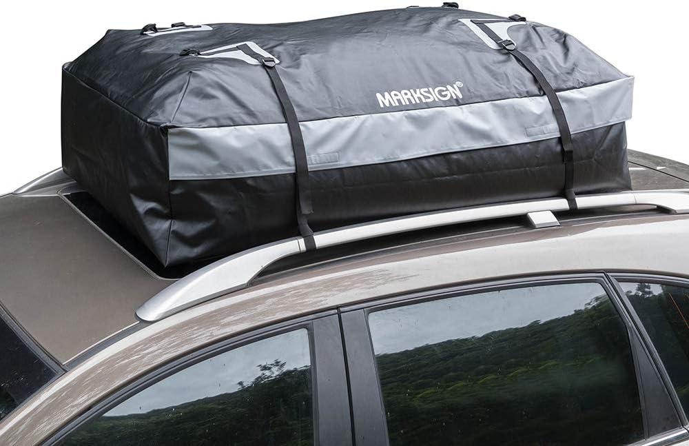 Waterproof Zipper and Rain Flap 19 cu ft Nylon UV Proof Straps MARKSIGN 100/% Waterproof Car Rooftop Cargo Carrier Bag
