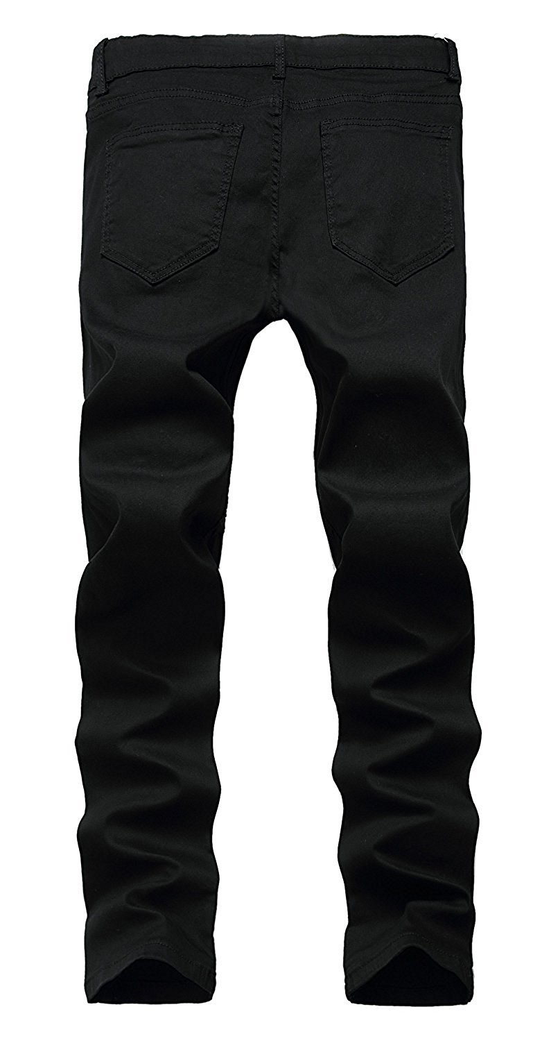 Toping Fine Fashion;Handsome Men's Ripped Skinny Distressed Destroyed Straight Fit Zipper Jeans with Holes BlackW29