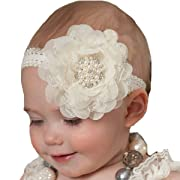 Miugle Baby Baptism Headbands Baby Girl Christening Headbands with Bows