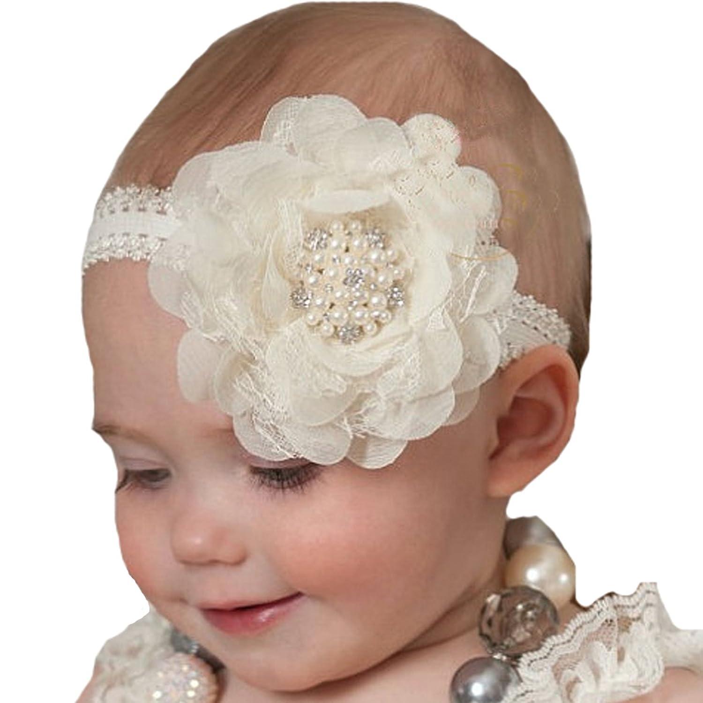 Miugle Baby Baptism Headbands Baby Girl Christening Headbands With Bows by Miugle