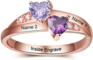 OPALSTOCK Personalized Mothers Ring with 2 Simulated Birthstones Custom Engraved Engagement Promise Rings for Women