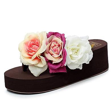 Eagsouni Damen Plattform Plateau Sandalen Flip Flops, Sommer Mädchen Rose Keilabsatz Pantoffeln Hausschuhe