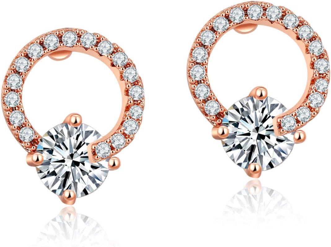 SDFGNH Pendientes Multicolores Circulares de circón Pendientes de Boda de Cristal de Diamante de una Sola Capa Pendientes Ideales para Damas y Adolescentes,1