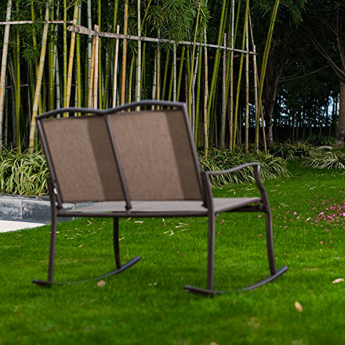 Patio Loveseat Bench, Glider Swing Rocking Chair with Steel Frame for 2 Persons by SLN (Image #1)
