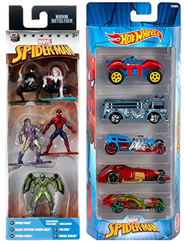 Spider-Man Hot Wheels 5-pack Series Buggy Rider / Rhino Fire Truck / Street Creeper/ icandy / Hammered Coupe + Nano Mini Metal Figures Black Costume - Green Goblin - Gwen & Exclusive Vulture