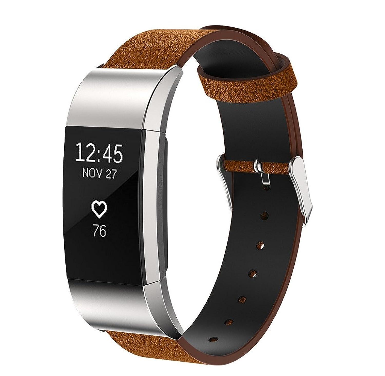 rukiwa交換用高級本革バンドストラップブレスレットfor Fitbit Charge 2ブラウン  B01M220X93
