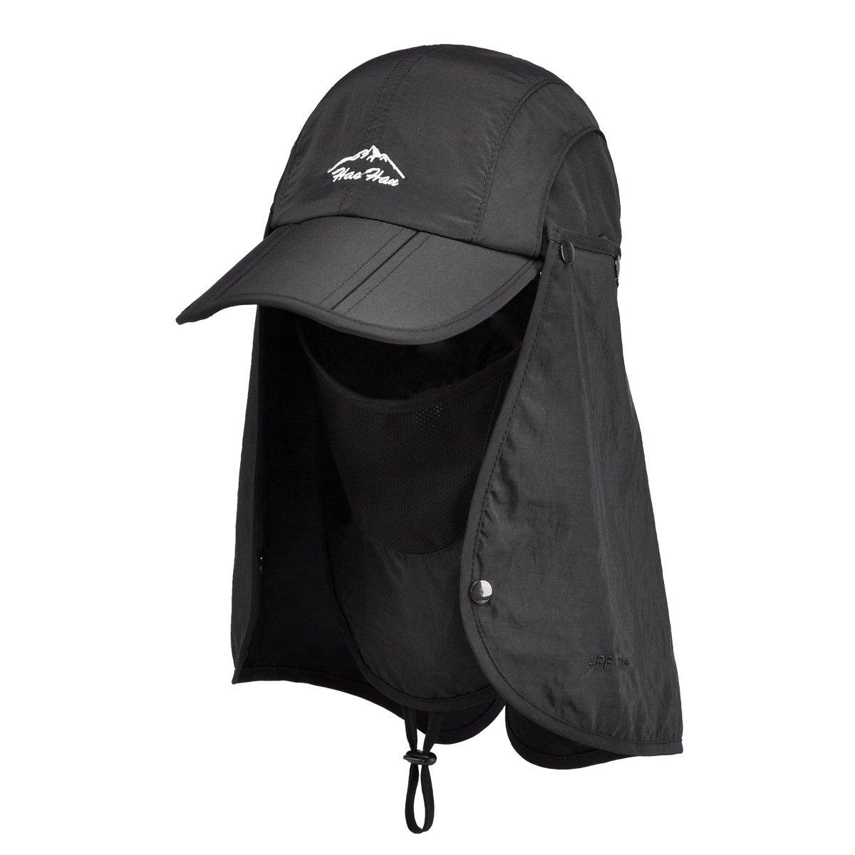 Belsen UPF 50+ Summer Hat Neck Protection Flap Cap (Black) by Belsen