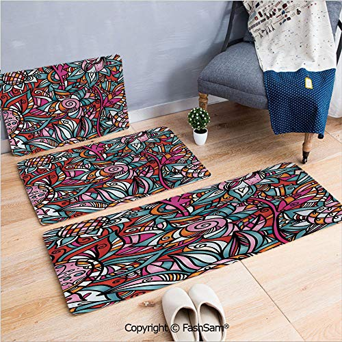 New Orleans Saints Stained Glass - FashSam 3 Piece Non Slip Flannel Door Mat Colorful Abstract Florals Sunflower Mosaic Curl Ornaments Stained Glass Decorative Indoor Carpet for Bath Kitchen(W15.7xL23.6 by W19.6xL31.5 by W31.4xL47.2)