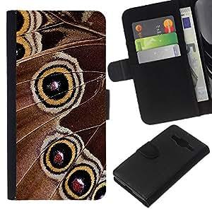 Planetar® Modelo colorido cuero carpeta tirón caso cubierta piel Holster Funda protección Para Samsung Galaxy Core Prime / SM-G360 ( Butterfly Spots Yellow Spring Nature )