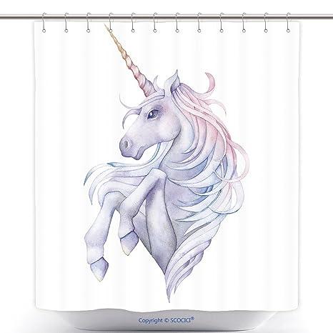 Tenda Doccia Durevole Carino Acquerello Unicorno In Colori Pastello
