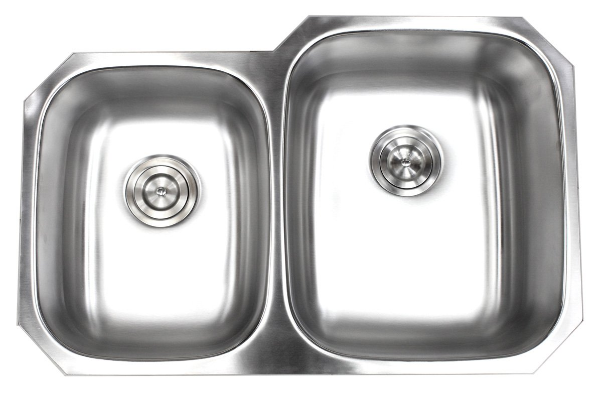 Contempo Living 18-903R 32 inch Undermount 40/60 Double Bowl 18 Gauge Stainless Steel Kitchen Sink, by Contempo Living