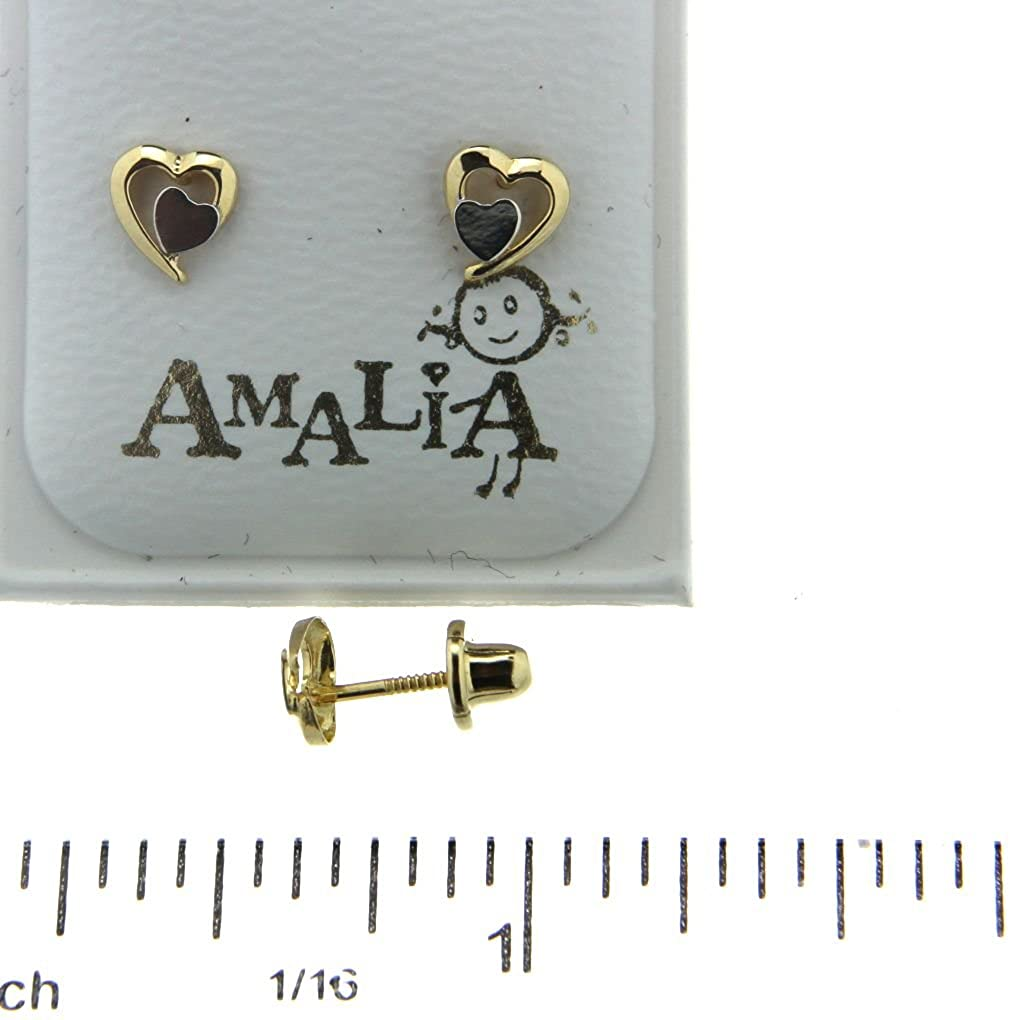 18KT Yellow Gold Polished Heart with White Heart Screwback Earrings 5mm
