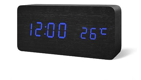 Reloj Despertador SXWY (Madera), Reloj Despertador Digital Temperatura Tiempo Reloj Despertador Multifuncional Despertador De Madera Ajustable ...