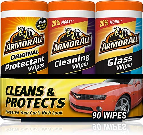 Armor All – 18782 Protectant, Glass and Cleaning Wipes, 30 Count Each (Pack of 3) , Black