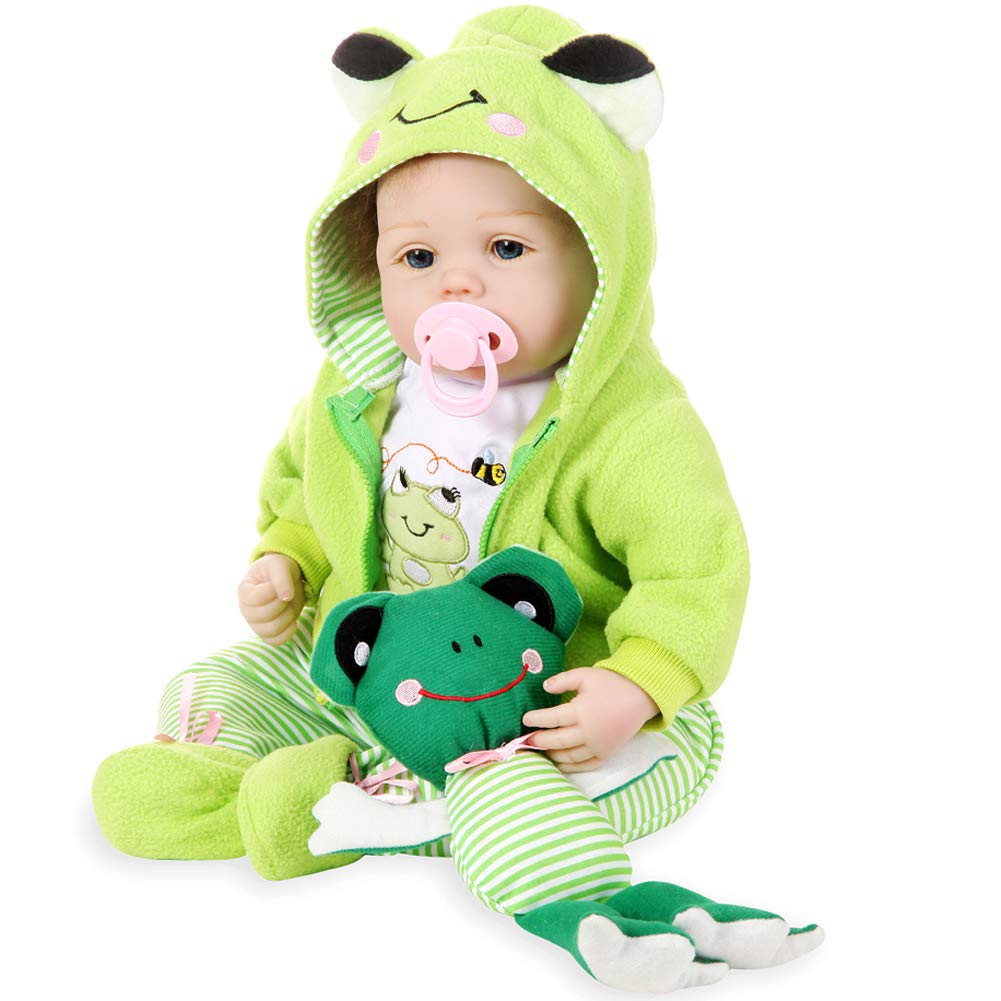 Aori Lifelike Reborn Baby Doll with Soft Body Realistic Vinyl 22 Inch Toy Doll with Travel Frog Gift Set