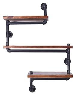 Industrial Pipe Shelving Bookshelf Rustic Modern Wood Ladder Wall Shelf 3 Tiers Wrought IronPipe Design