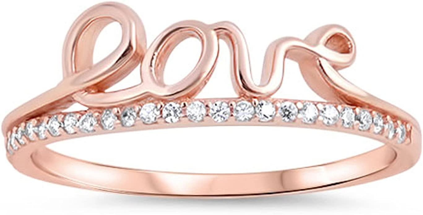 Sizes 5-10 Prime Jewelry Collection Sterling Silver Womens Colorless Cubic Zirconia Wedding Rose Gold-Tone Ring