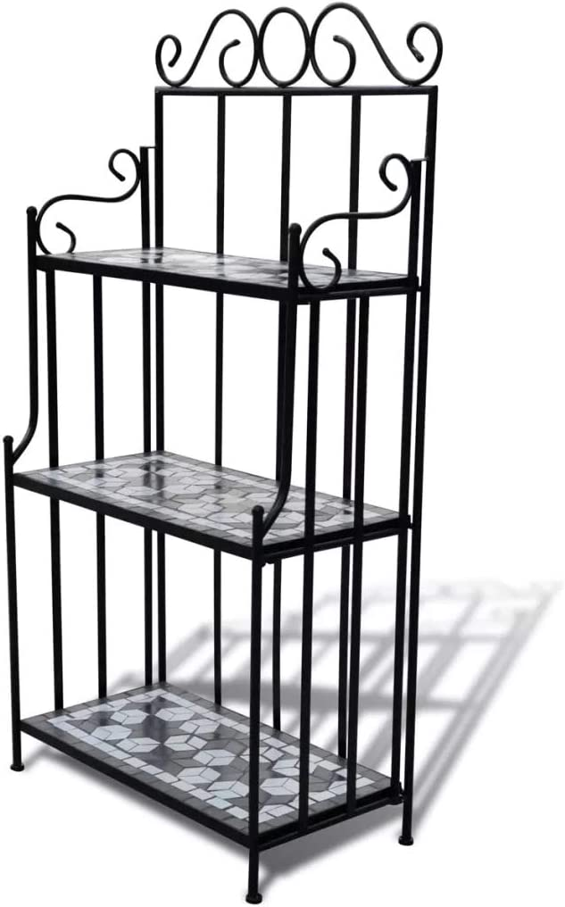 SOULONG Plant Ladder Display Stand Mosaic Pattern Organises Pot Plant Tiered Display Shelf for Herb Flower Stage Metal Black and White 58 x 30 x 115 cm