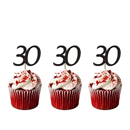 LissieLou Number 30 Cupcake Toppers Glitter Black 30th Birthday Cake Amazoncouk Kitchen Home