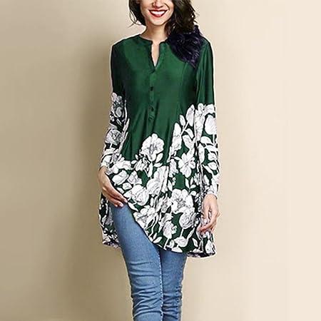 Mujer Blusa larga moda casual verano y otoño manga larga streetwear,Sonnena Mujer Plus tamaño vestido Floral de impresión Fashion manga larga botón camisa ...